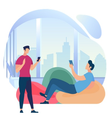 bestsmmpanel Buy Instagram Story Views young men using gadgets at window with city view 2706738 2266905